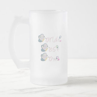 World's Best Mom (butterfly) Frosted Glass Beer Mug