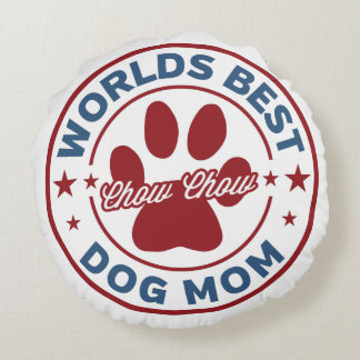 Worlds Best Mom Chow Chow Paw Print Round Pillow