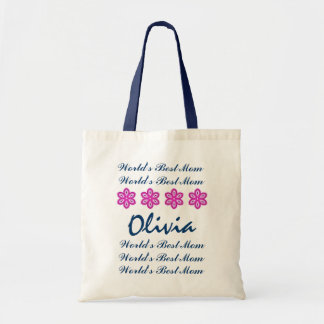 World's Best Mom Custom Name Navy and Pink Flowers