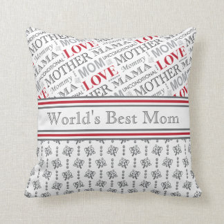 World's Best Mom Elegant Black and White Patterns Throw Pillow
