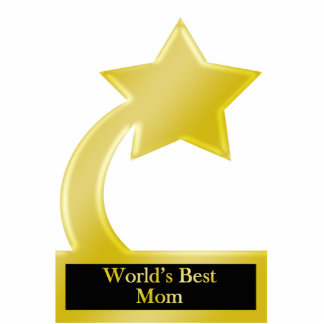 World's Best Mom, Gold Star Award Trophy Standing Photo Sculpture