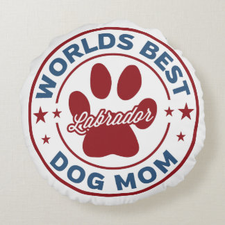 Worlds Best Mom Labrador Paw Print Round Pillow