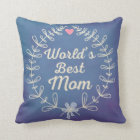 World's Best Mom Laurel Wreath Keepsake Gift Throw Pillow