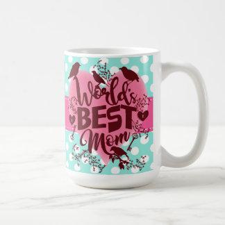 World's Best Mom Mothers Day Typography Polka Dots Coffee Mug