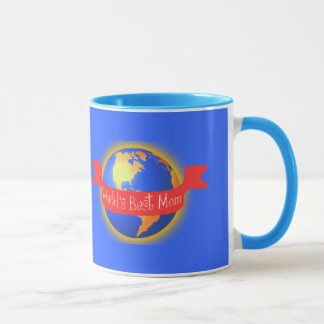 World's Best Mom Mug, Bright Colors Globe Mug
