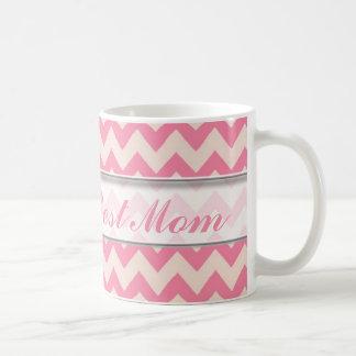 World's Best Mom Mug|Pink Chevron Pattern Coffee Mug