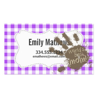 World's Best Mom; Purple Checkered Gingham Business Card Template