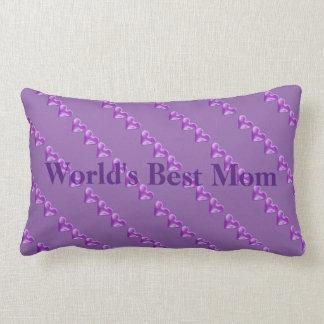 Worlds Best Mom Purple Hearts Lumbar Pillow