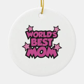 World's Best Mom Round Ceramic Ornament