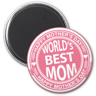 World's Best mom rubber stamp effect 2 Inch Round Magnet