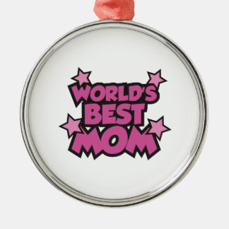 World's Best Mom Silver-Colored Round Ornament