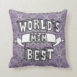 World's Best Mom Typography Text Floral Pillow