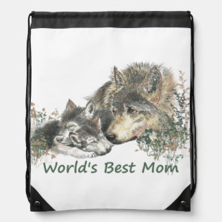 World's Best Mom Watercolor Wolf & Cub Nature Art Drawstring Bag