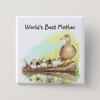 World's Best Mom with Duck and Ducklings 2 Inch Square Button