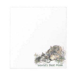 World's Best Mom Wolf & Cubs Animal Watercolor Notepad