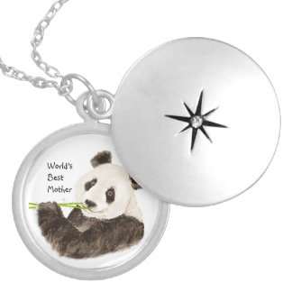 World's Best Mother Cute Pandas Watercolor Animal Locket Necklace