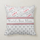 World's Best Mum British Mother's Day Gift Throw Pillow