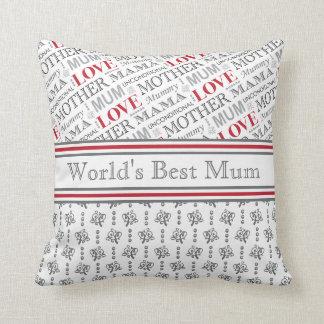World's Best Mum British Mother's Day Gift Throw Pillow