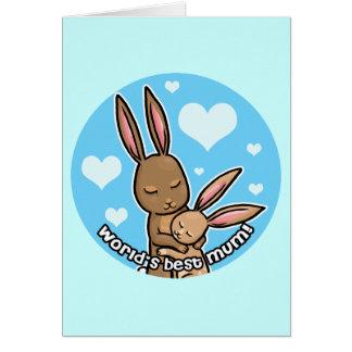 Worlds best Mum Bunny Greeting Cards