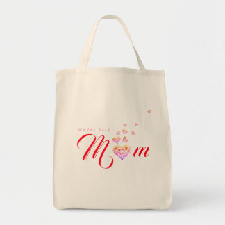 Worlds Best Mum|Mom ~ Floral Heart Grocery Tote