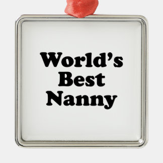 World's Best Nanny Silver-Colored Square Ornament
