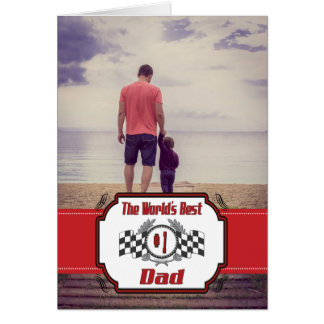 World's Best Number One Dad Racing Theme Card
