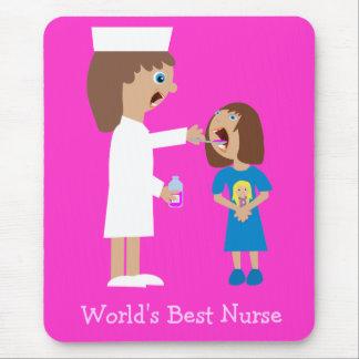 World's Best Nurse Cute Cartoon Nurse & Child Mouse Pad