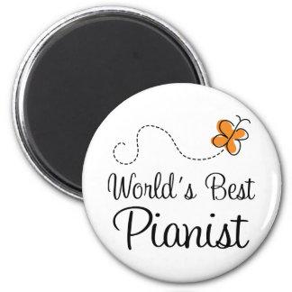 Worlds Best Pianist Orange Butterfly Magnet Gift