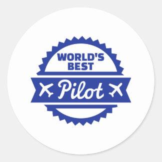 World's best Pilot Classic Round Sticker