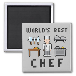 World's Best Pixel Chef Square Magnet