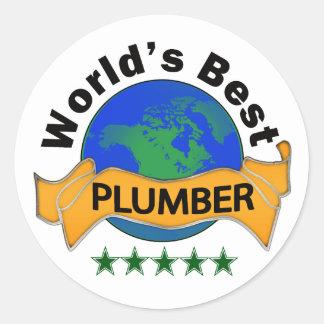 World's Best Plumber Classic Round Sticker