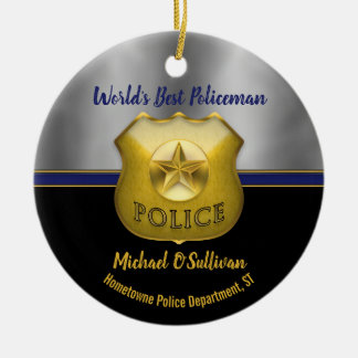 World's Best Policeman Photo Keepsake Ceramic Ornament