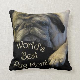 World's Best Pug Mom Throw Pillow