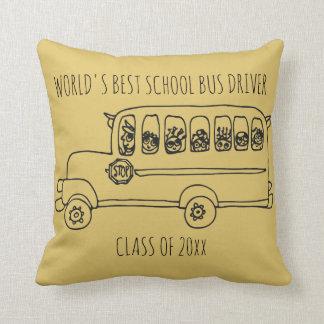 World's Best School Bus Driver Add Year Throw Pillow