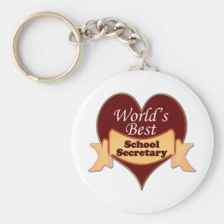 World's Best School Secretary Basic Round Button Keychain