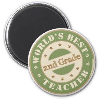 Worlds Best Second Grade Teacher 2 Inch Round Magnet