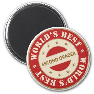 Worlds Best Second Grader 2 Inch Round Magnet
