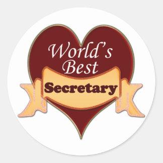 World's Best Secretary Round Sticker