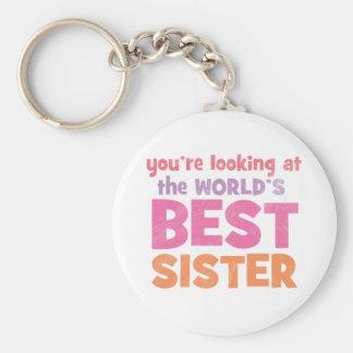 World's Best Sister Basic Round Button Keychain