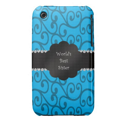 World's best sister blue swirls iPhone 3 cover