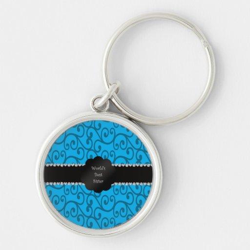 World's best sister blue swirls keychain