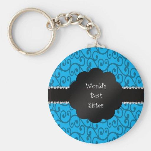 World's best sister blue swirls keychains