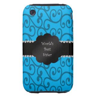 World's best sister blue swirls tough iPhone 3 cases