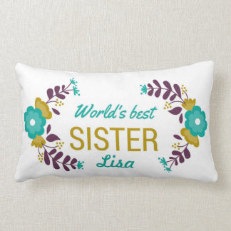 World's Best Sister Customized Floral Wreath Lumbar Pillow