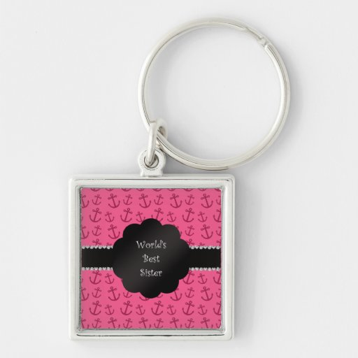 World's best sister pink anchors keychains