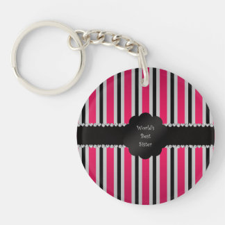 World's best sister pink black stripes key chain