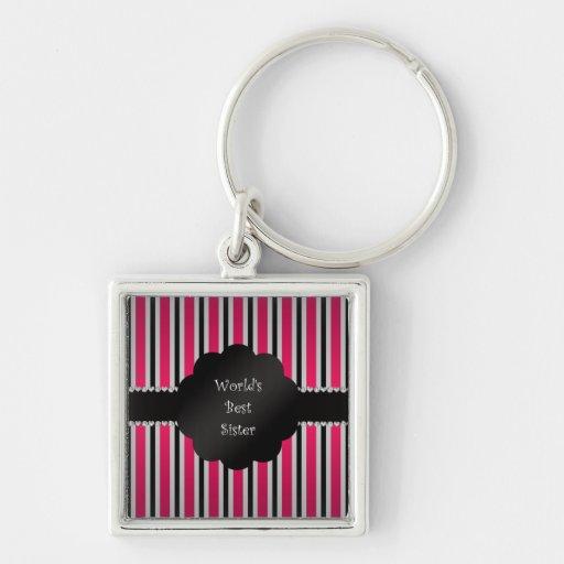 World's best sister pink black stripes keychains