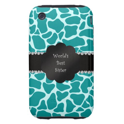 World's best sister turquoise giraffe tough iPhone 3 cases