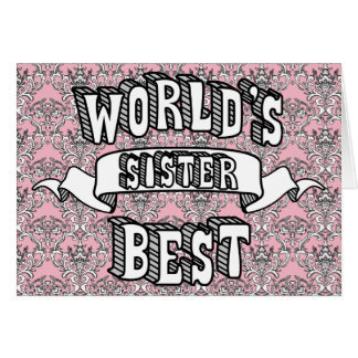 World's Best Sister Typography Text Floral Card