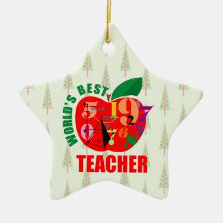 World's Best Teacher Apple | Math Geometry Ceramic Ornament
